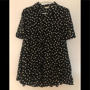 11.1. TYLHO (Anthropologie) Navy Polka Dot Blouse